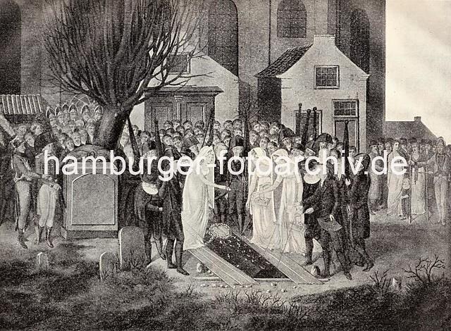 X41257387 Historische Darstellung Begräbnis des Dichters Friedrich Gottlieb Klopstock. Der Sarg wird unter grosser Teilnahme ins Grab gesenkt.