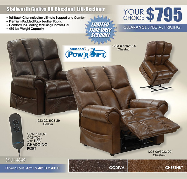 Stallworth Chestnut OR Godiva Power Lift Recliner Special_4898 Catnapper