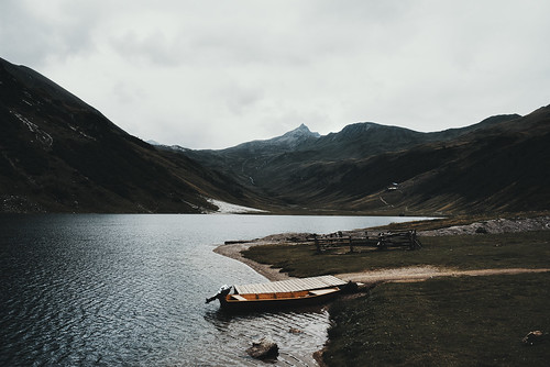 The boat, the lake, the peak and no sheep.