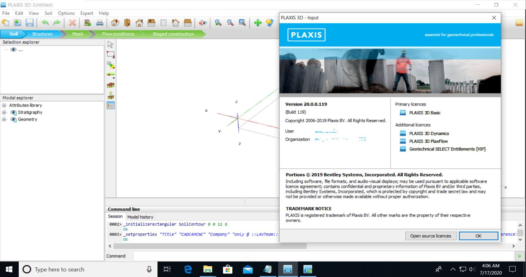 Working with PLAXIS 3D CONNECT Edition V20 full license