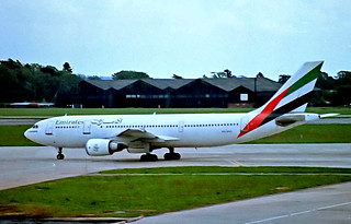 A6-EKC   Airbus A300B4-605R [505] (Emirates Airlines) Manchester-Ringway~G 10/06/1996