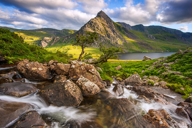 Tryfan and Ogwen Valley Snowdonia North Wales with the Summer light.