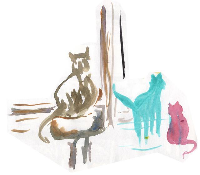 quick cats watercolour june 2020