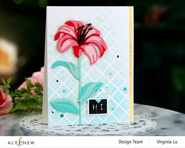 Altenew-Trellis Stencil-Sea Shore Enamel Dots-Craft-A-Flower-Lily-Mega Label#1