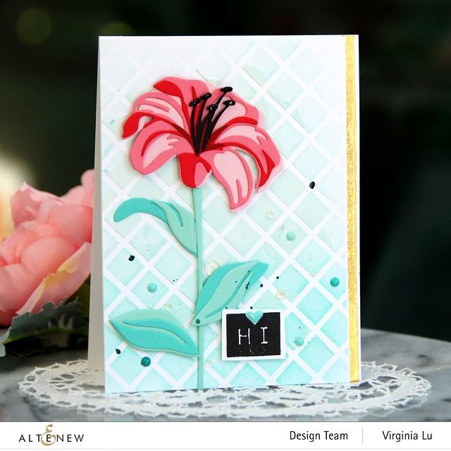 Altenew-Trellis Stencil-Sea Shore Enamel Dots-Craft-A-Flower-Lily#1