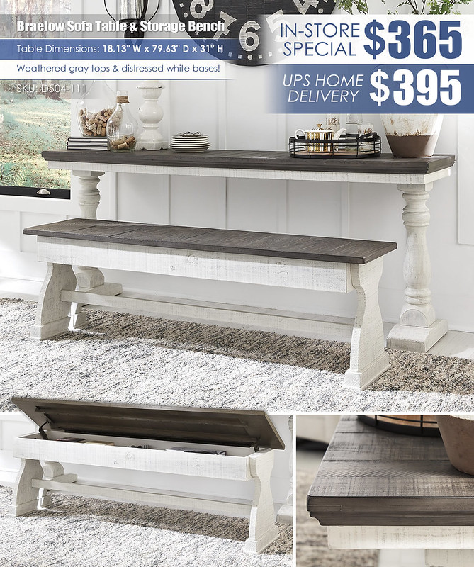 Braelow Sofa Table & Storage Bench_D504-111