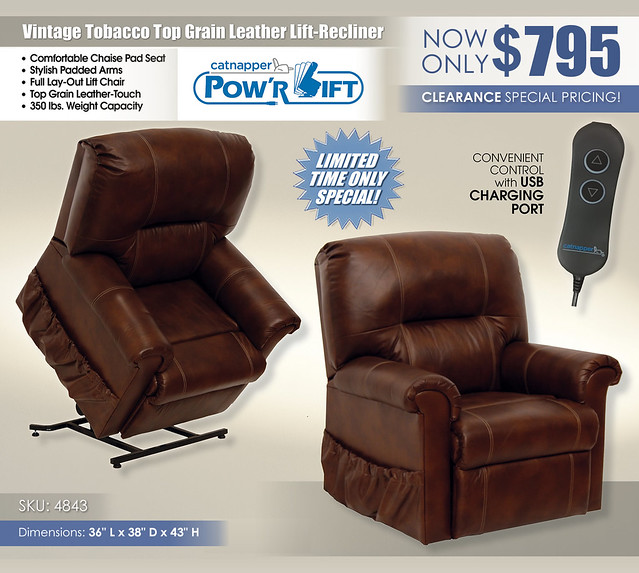 Vintage Tobacco Power Lift Recliner_4843 Catnapper