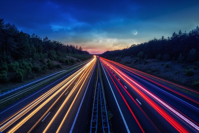 A1 motorway near Apeldoorn with Traffic and Moon.