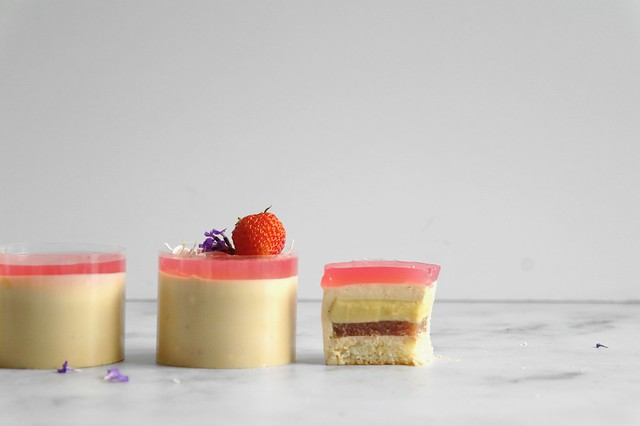rooibos, coconut & rhubarb mousse cakes