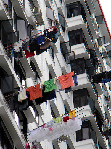 Singapore apartment buildings with laundry on a stick