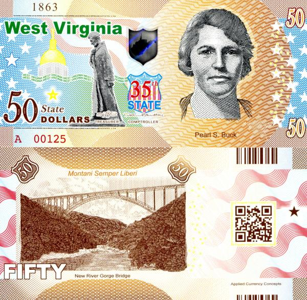 USA 50 Dollars 2015 35. štát - West Virginia polymer