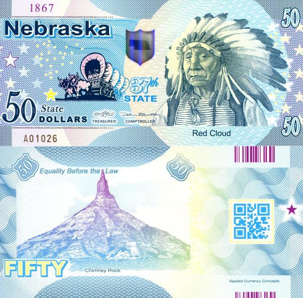 USA 50 Dollars 2015 37. štát - Nebraska polymer