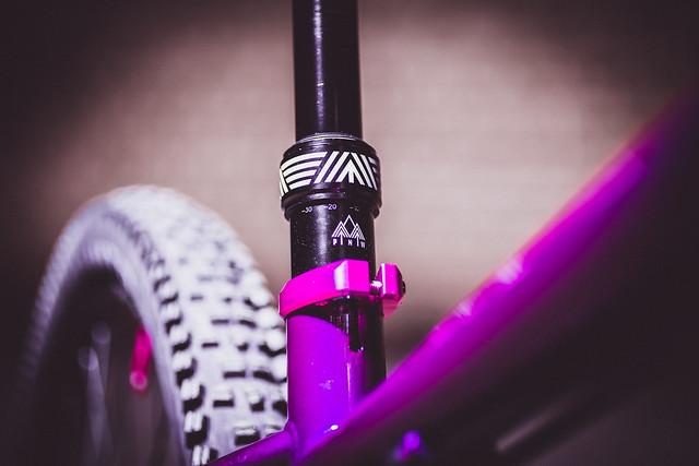 Sam Capper's custom purple and pink Cotic SolarisMAX steel hardtail bike