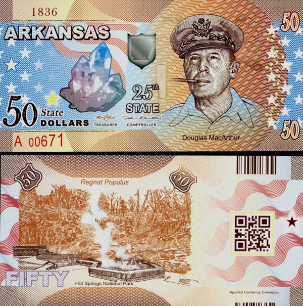 USA 50 Dollars 2015 25. štát - Arkansas polymer