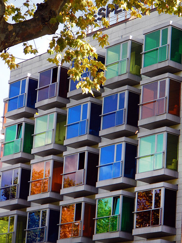 Bilbao apartments with colored glass covering the balconies (Spain)