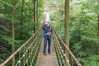 Wanderfee auf der Hängebrücke Kühhude auf dem Waldskulpturenweg