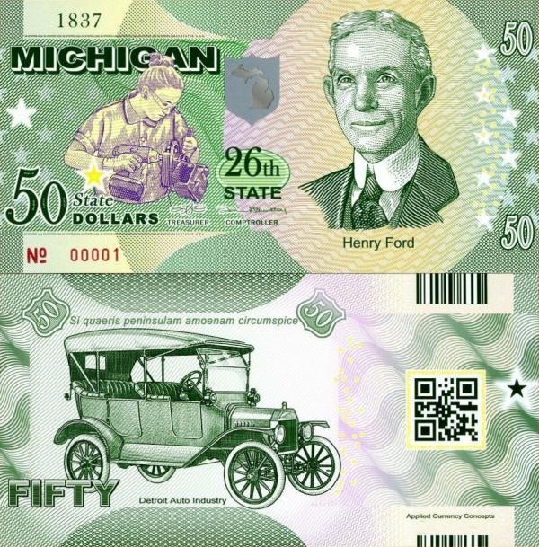 USA 50 Dollars 2015 26. štát - Michigan polymer