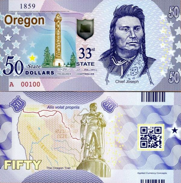 USA 50 Dollars 2015 33. štát - Oregon polymer