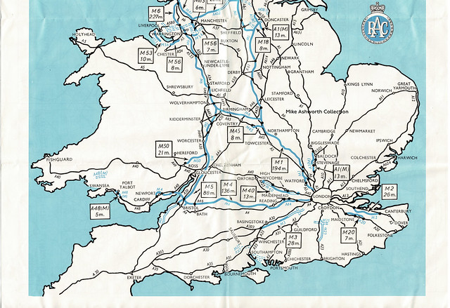 RAC - know your motorways, June 1972 - Britain's Motorway Picture motorway map (southern section)
