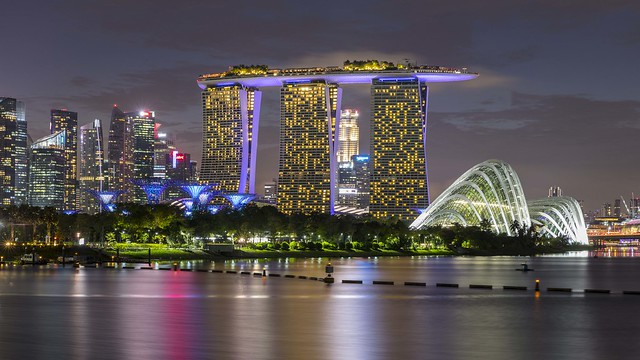 Gardens by the Bay and Marina Bay Sands Night