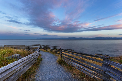 waterfront sea ocean mcaulay pathway fence sunset evening clouds prioux explored