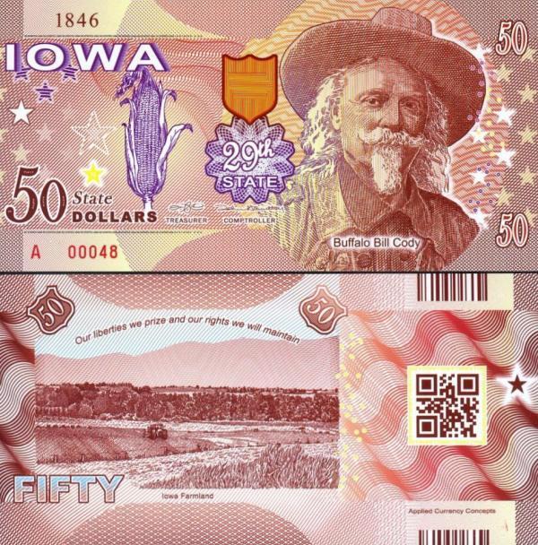 USA 50 Dollars 2015 29. štát - Iowa polymer