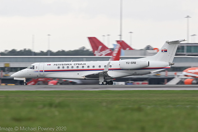 YU-SRB - 2007 build Embraer 135BJ Legacy 600, rolling for departure on Runway 23R at Manchester