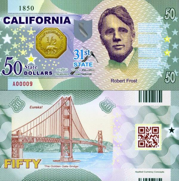 USA 50 Dollars 2015 31. štát - California polymer