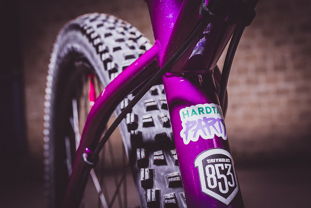 Sam Capper's custom purple and pink Cotic SolarisMAX steel hardtail bike