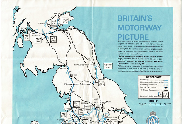 RAC - know your motorways, June 1972 RAC - know your motorways, June 1972 - Britain's Motorway Picture motorway map (northern section)