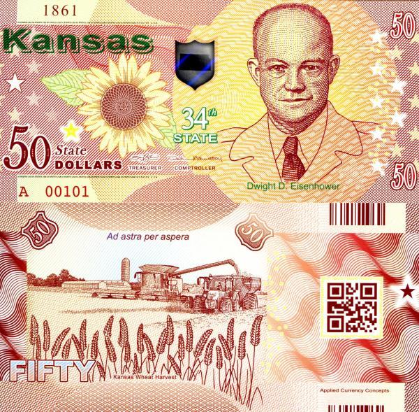 USA 50 Dollars 2015 34. štát - Kansas polymer