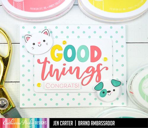 Jen Carter Good Things Ahead Card Set Kitty Cat Dog Congrats