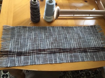 Placemat woven by Diane on her Ashford Loom using Ashford Caterpillar Cotton and Gist Mallo Cotton Slub.