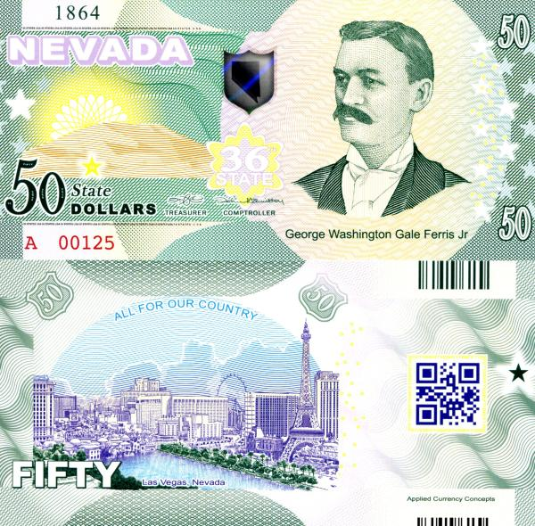 USA 50 Dollars 2015 36. štát - Nevada polymer