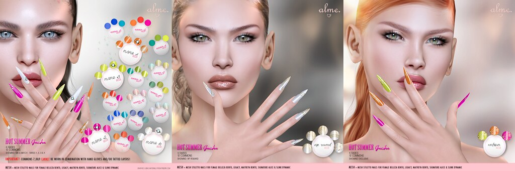 "Alme. for The Epiphany ""Hot Summer"" Mesh Stiletto nails Gacha set"