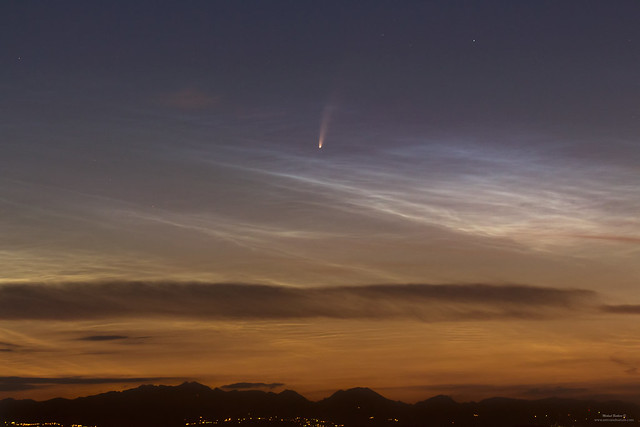 Comet Neowise with NLC clouds