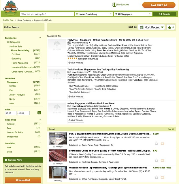 Gumtree furniture category