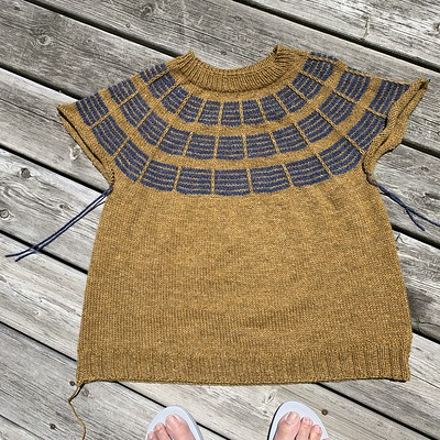 Only the sleeves left to knit on my Soundtrack for Olive Knits 4 Day KAL! Yarn is Stolen Stitches Nua Worsted.