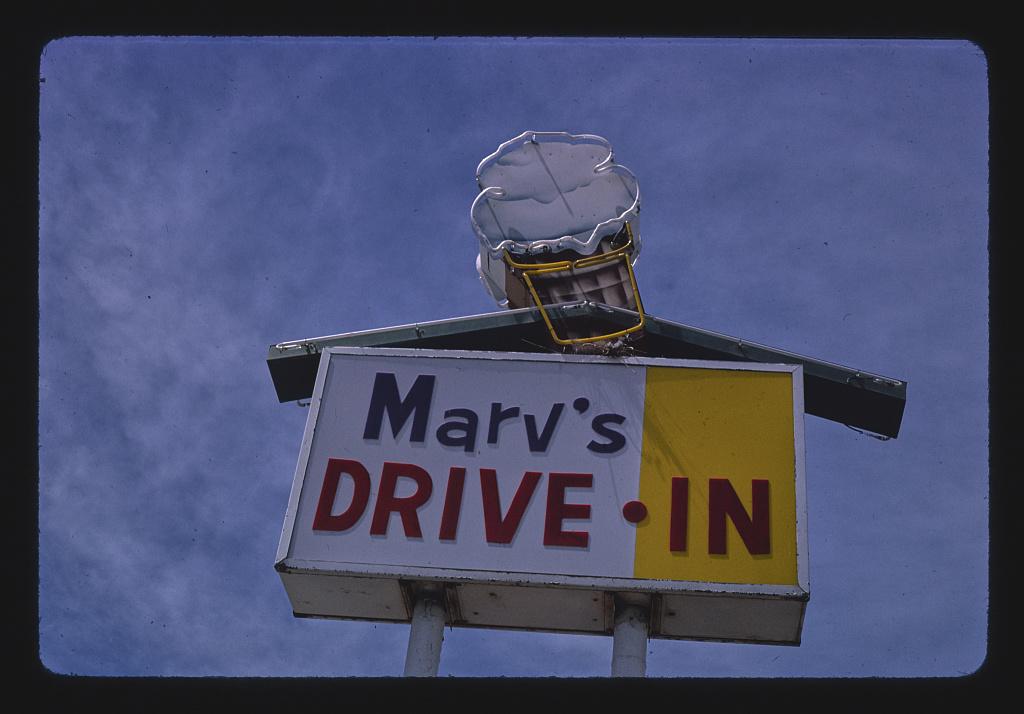 Marv's Drive-In ice cream sign, Rt. 50, Fallon, Nevada (LOC)