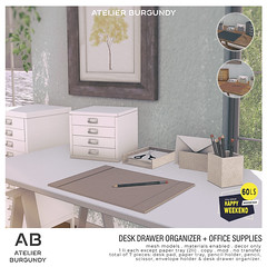 Atelier Burgundy . Desk Drawer w/ Office Supplies