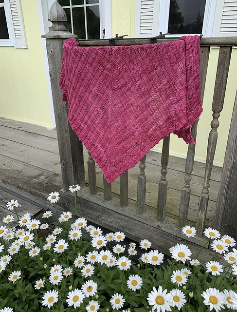 Natalie knit this gorgeous Awakening of Spring by Rina Lehmann with yarn she won in a Susanna IC KAL! She snagged a third skein with the same dye lot from a Raveler who agreed to sell it to her when she ran out of yarn before finishing!