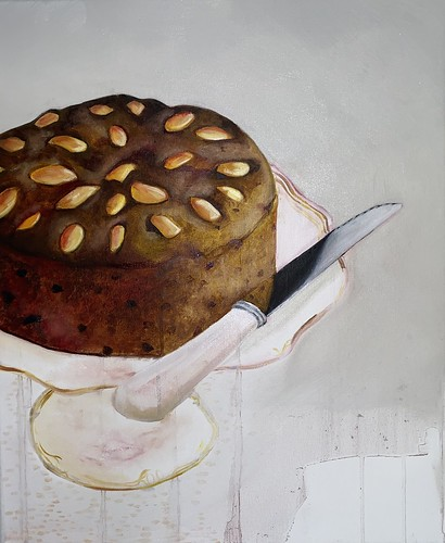 Dundee Cake on Plinth 042 | £100 inc p&p UK | 2020 | 38x46cm | Oil on canvas
