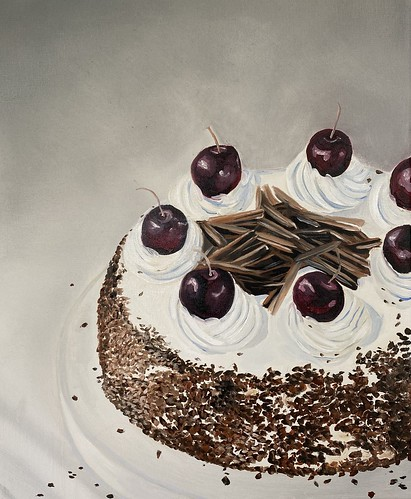 Chocolate Cake with Aspirations 041 | £100 inc p&p UK | 2020 | 38x46cm | Oil on canvas
