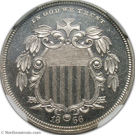 1866 Shield Nickel Pattern J-489 obverse | by Numismatic Bibliomania Society
