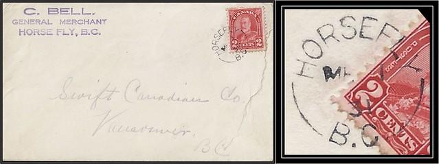 British Columbia / B.C. Postal History - 1 March 1931 - HORSEFLY, B.C. ( split ring / broken circle cancel / postmark) to Vancouver, B.C.