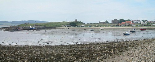 Lindisfarne Harbour, Village and Priory from Road to Castle