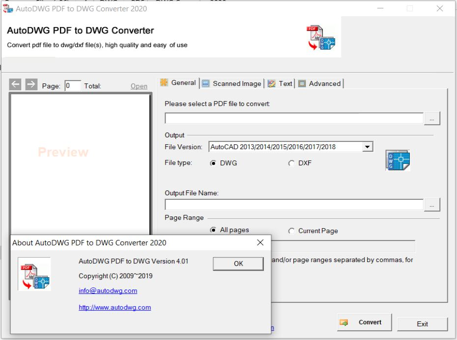 Working with AutoDWG PDF to DWG Converter 2020 4.01 full license