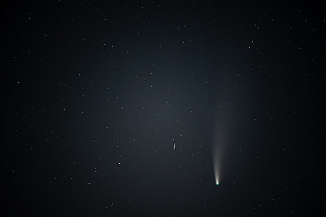 Comet NEOWISE and a third satellite trail