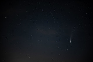 Comet NEOWISE and a satellite trail | by adambowie