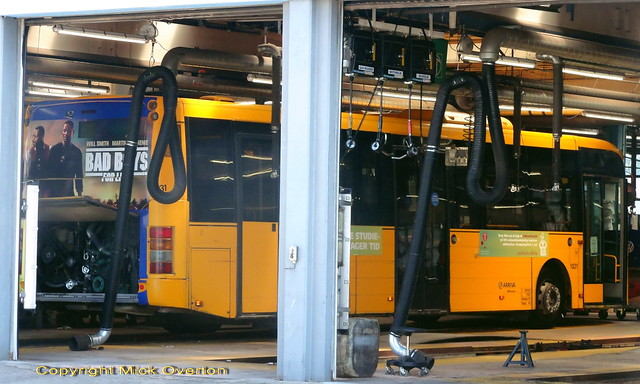 2009 Volvo B7RLE ARRIVA 1031 from route 10 gets attention in the Gladsaxe garage workshop